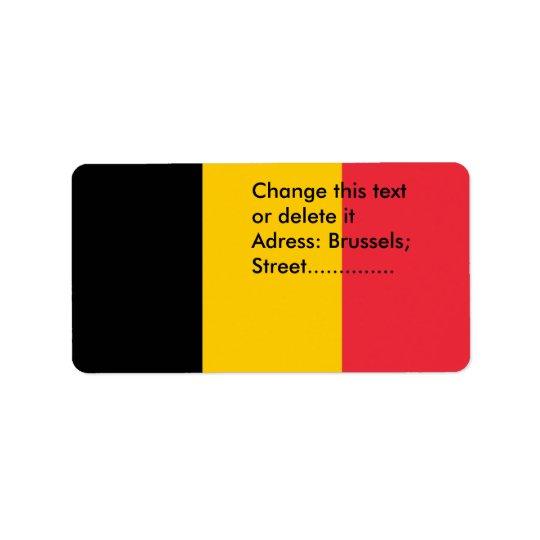 Beställnings- etikett med flagga av Belgien Adressetikett