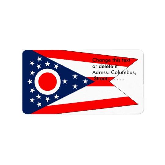 Beställnings- etikett med flagga av Ohio, USA Adressetikett