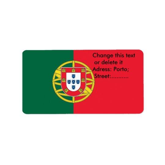 Beställnings- etikett med flagga av Portugal Adressetikett