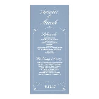 Beställnings- färgelegant bröllopprogram 10,2 x 23,5 cm inbjudningskort