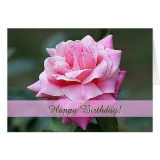 Beställnings- födelsedagkort för rosa ros hälsningskort
