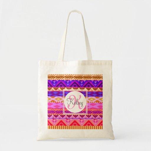 Beställnings- för Aztec Monogram flickaktigt Tote Bag