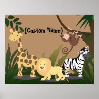 Beställnings- för JungleZoo för ungebabynamn affis Posters