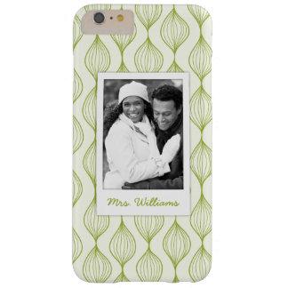 Beställnings- foto & grönt Ogee för namn mönster Barely There iPhone 6 Plus Fodral