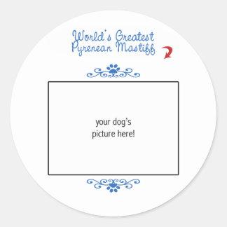 Beställnings- foto! Mest underbar Pyrenean Mastiff Rund Klistermärke