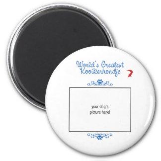 Beställnings- foto! Världsstörsta Kooikerhondje Magnet Rund 5.7 Cm
