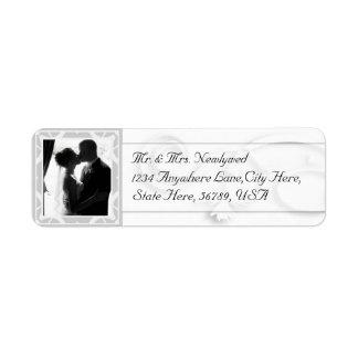 Beställnings- fotobröllopreturetiketter returadress etikett
