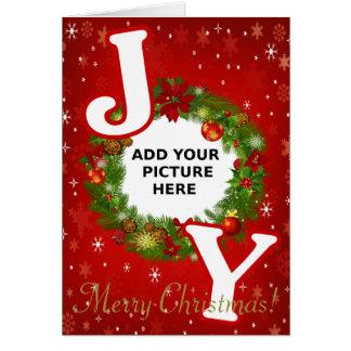 Beställnings- fotojulGLÄDJE tillfogar din bildkran Hälsningskort