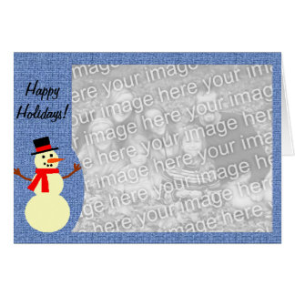 Beställnings- fotokort för snögubbe hälsningskort