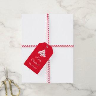 Beställnings- god julgåvamärkre med julaftonträd presentetikett