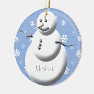 Beställnings- gullig baby för snögubbe första julgransprydnad keramik