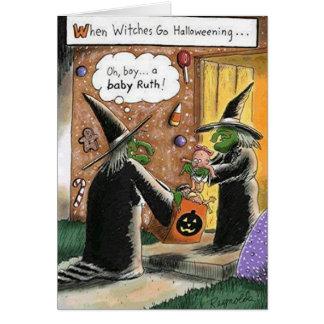 Beställnings- Halloween rolig häxabus eller godis Hälsningskort