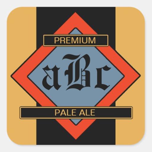 Beställnings- hemlagade öl-/vinetiketter fyrkantigt klistermärke