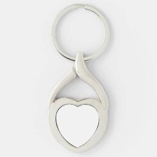 Beställnings- hjärtnyckelring twisted heart silverfärgad nyckelring