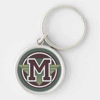 Beställnings- initialt Monogrambrev M Rund Silverfärgad Nyckelring