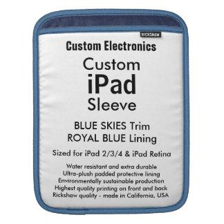 Beställnings- ipad sleeve - lodrät (blått &