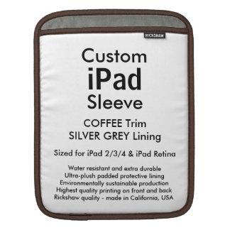 Beställnings- ipad sleeve - lodrät (kaffe &