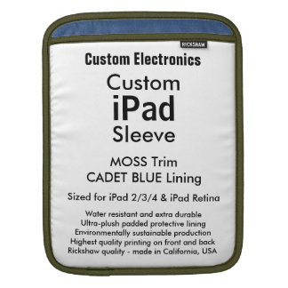 Beställnings- ipad sleeve - lodrät (Moss & blått)