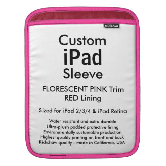 Beställnings- ipad sleeve - lodrät (rosa & rött)