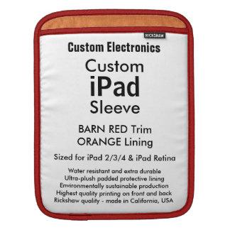 Beställnings- ipad sleeve - lodrät (rött & orange)
