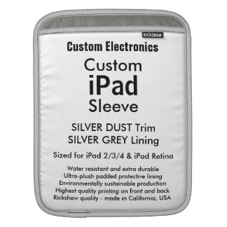 Beställnings- ipad sleeve - lodrät (silver & grå