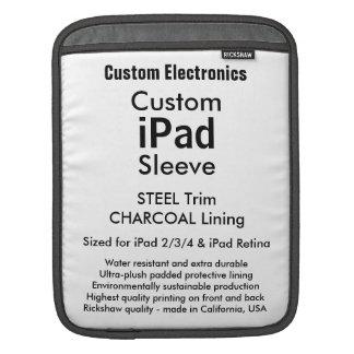 Beställnings- ipad sleeve - lodrät (stålsätta &
