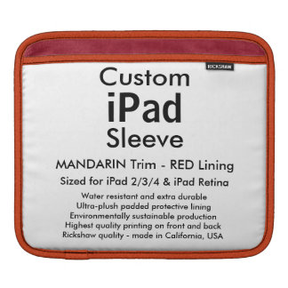 Beställnings- ipad sleeve - vågrät (mandarinen &