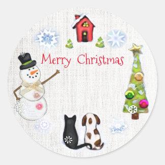 Beställnings- jul hund & klistermärkear för runt klistermärke