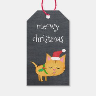 Beställnings- julkatt på svart tavlagåvamärkre presentetikett