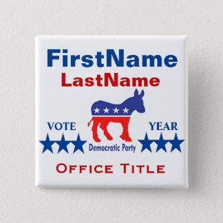 Beställnings- kampanjmall för demokrat standard kanpp fyrkantig 5.1 cm