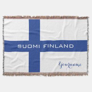 Beställnings- kastfilt för finlandssvensk flagga mysfilt
