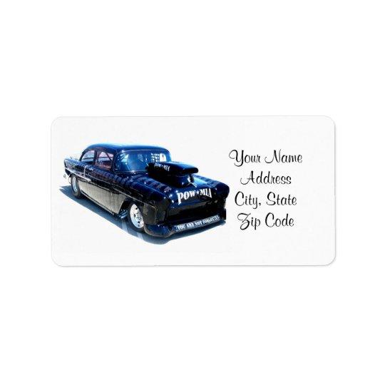Beställnings- klassikerbil för svart POW Adressetikett