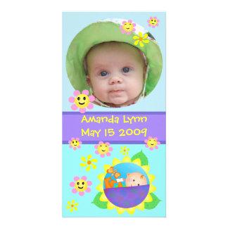 Beställnings- kort för babymeddelandefoto fotokort