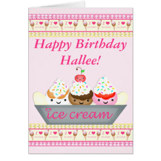 Beställnings- kort för Kawaii födelsedagglass