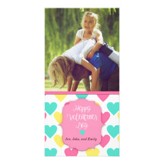 Beställnings- kort för lyckliga valentin dag med fotokort