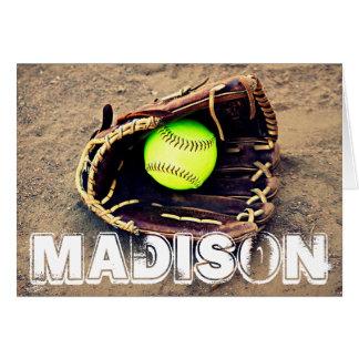 Beställnings- kort för softballhandskehälsning
