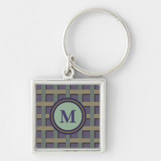 Beställnings- lila- och gröntMonogram Fyrkantig Silverfärgad Nyckelring