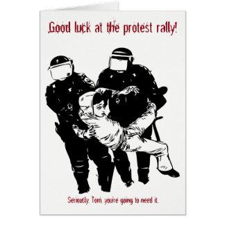 Beställnings- lycka till på protestkortet hälsningskort