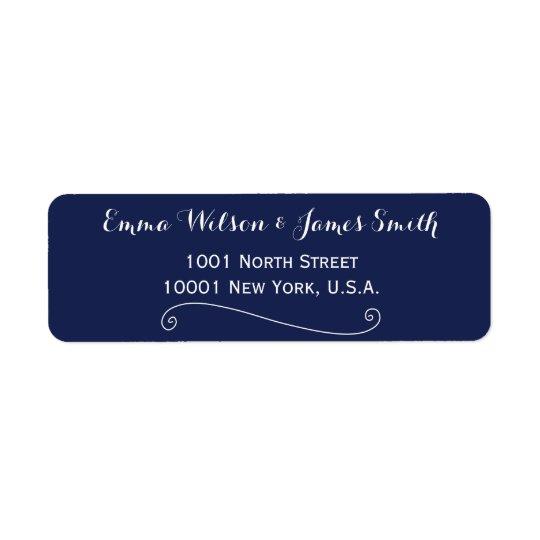 Beställnings- marinblå vitpersonligadressetiketter returadress etikett