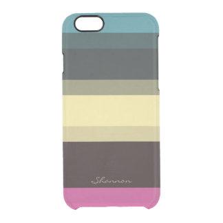 Beställnings- märkes- färger görat randig klart clear iPhone 6/6S skal