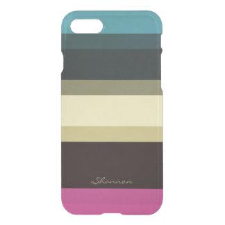 Beställnings- märkes- färger görat randig klart iPhone 7 skal