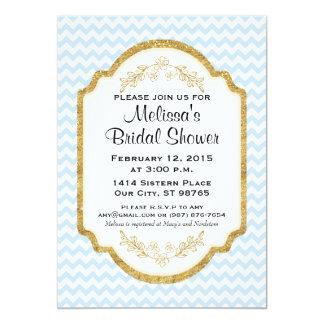 Beställnings- möhippainbjudan, blåttsparre, guld 12,7 x 17,8 cm inbjudningskort