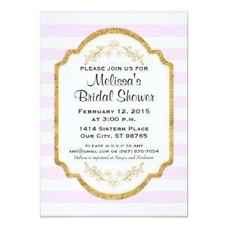 Beställnings- möhippainbjudan, rosa randar, guld 12,7 x 17,8 cm inbjudningskort