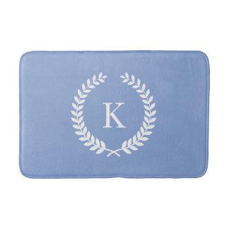 Beställnings- Mongram blåklintblått och vit Badrumsmatta