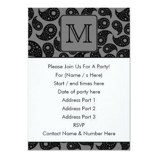 Beställnings- Monogram. Grå och svart Paisley 12,7 X 17,8 Cm Inbjudningskort
