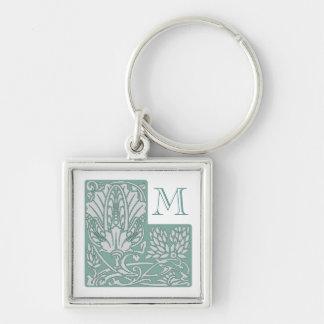 Beställnings- Monogram Keychain för art nouveau Fyrkantig Silverfärgad Nyckelring
