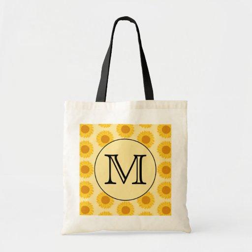 Beställnings- Monogram, med gula Sunflowers. Tote Bag