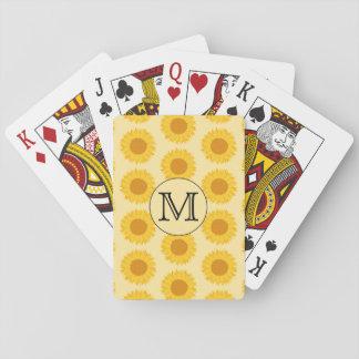 Beställnings- Monogram, med gula Sunflowers. Spel Kort