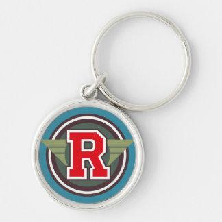 """Beställnings- Monogrambrev """"R"""" märka med sina Rund Silverfärgad Nyckelring"""