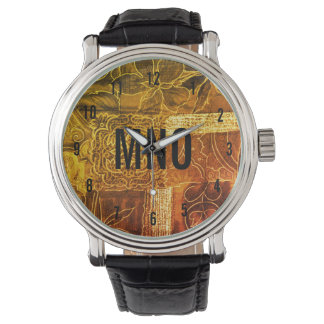 Beställnings- Monogrammed guld- Patchwork Armbandsur
